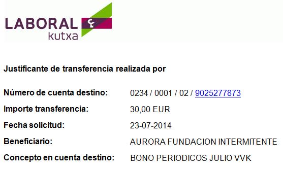 Pago Bonos Periodico 15M julio 2014