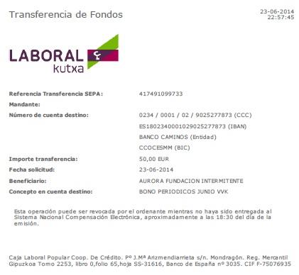 Pago Periodico 15M junio 2014