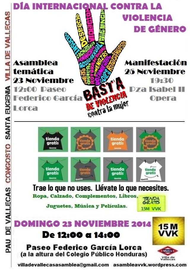 Cartel_Asamblea_DOMINGO_23 NOVIEMBRE 2014 Violencia Genero+Tienda