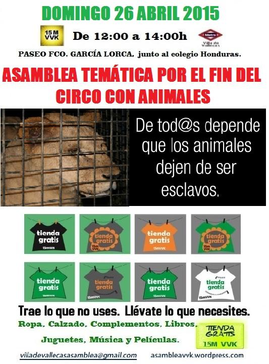 Cartel Circo Animales+Tienda Gratis 26 Abril 2015