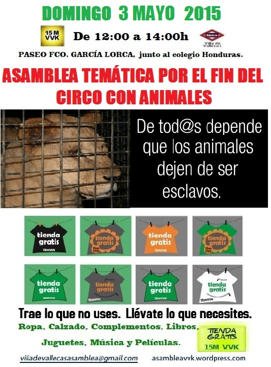 Cartel Circo Animales+Tienda Gratis 3 mayo 2015