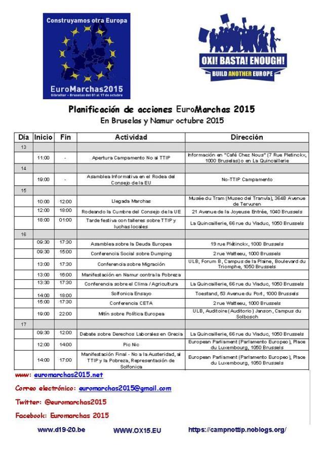 Planificación de acciones EuroMarchas 2015 en  Belgica