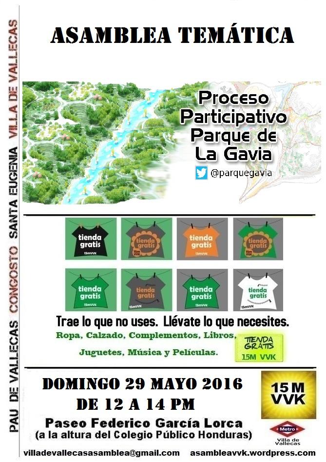 Cartel_Asamblea_DOMINGO_29 mayo 2016 Parque Gavia+Tienda